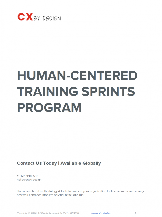 Cover page of the CX by Design Sample Design Sprint Training Agenda