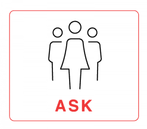 """Ask –illustration with 3 human figures and the word """"Ask"""""""