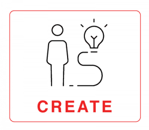 """Create –human figure illustration with lightbulb with the word """"Create"""""""