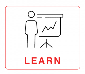 """Learn – human figure illustration with a slide show in background with the word """"Learn"""""""