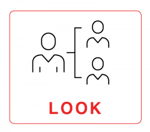 """Look – illustration of 3 human figures with the word """"Look"""""""