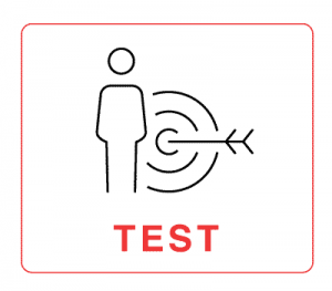 """Test – illustration of a human figure with a bullseye behind it with the word """"Test"""""""