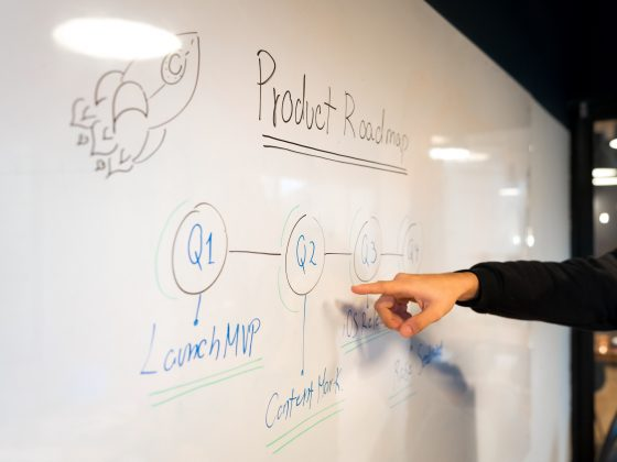 """Product Roadmap"" written on whiteboard"