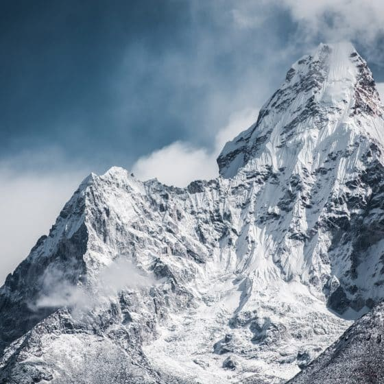 Mountain cover with snow