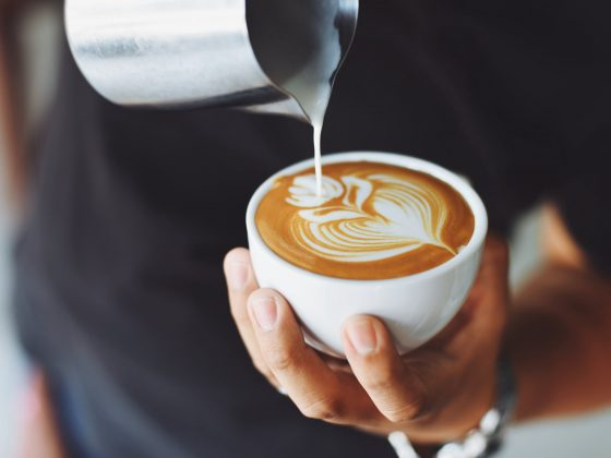 Close up of coffee design in cup